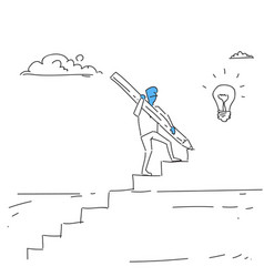 Business man walking on stairs up to light bulb vector