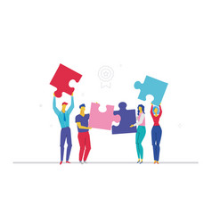 Business team doing a puzzle - flat design style vector