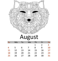 Calendar august month 2019 antistress coloring vector