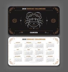 cancer 2018 year zodiac calendar pocket size vector image