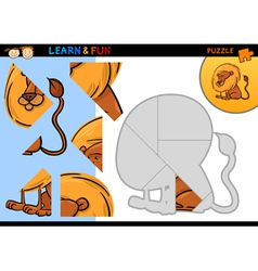 Cartoon lion puzzle game vector