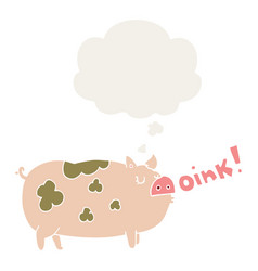 Cartoon oinking pig and thought bubble in retro vector