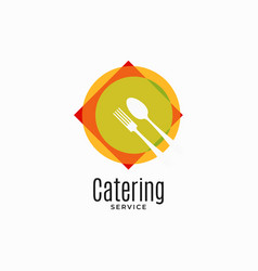 catering service logo plate with fork and spoon vector image