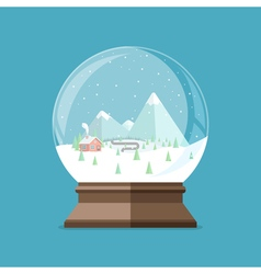Christmas snow globe with house in the forest and vector image