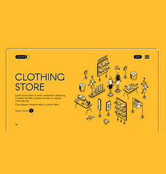 clothing store isometric landing page cloth shop vector image