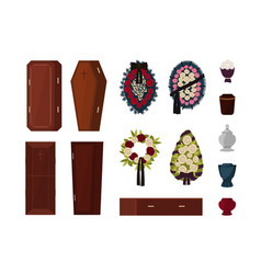Collection of attributes for funeral burial vector
