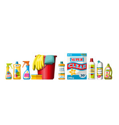 Collection of different cleaning agents vector