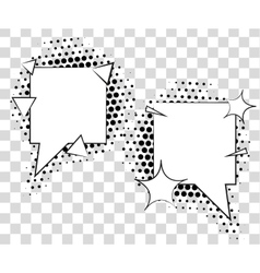 Comic speech bubbles with halftone shadows vector