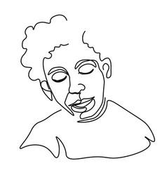 continuous one line sketch portrait man vector image