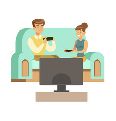 Couple sitting on the sofa with joystickspart of vector
