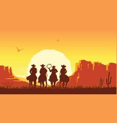 cowboys riding horses at sunset prairie vector image