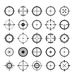 crosshair gun sight icons bullseye black vector image