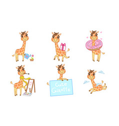 Cute adorable giraffe character set cheerful vector