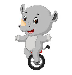 cute happy rhino riding unicycle vector image