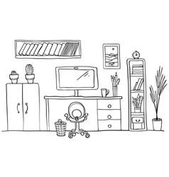 designer s desk at home office work space vector image