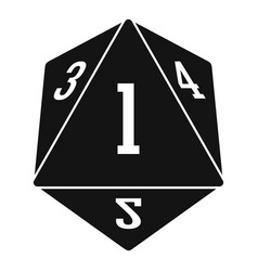 Dice polygonal number icon simple style vector
