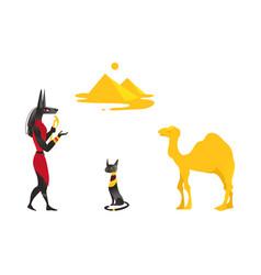 Egypt symbols - anubis black cat camel pyramids vector