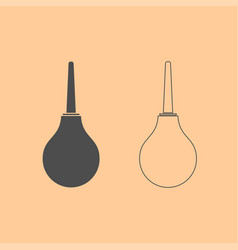 enema dark grey set icon vector image