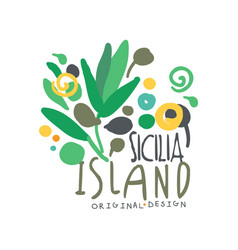 exotic sicilia island summer vacation travel logo vector image