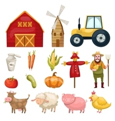 Farm Cartoon Elements Set vector