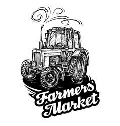 Farm tractor hand-drawn sketch vector