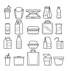 fastfood packing icons vector image