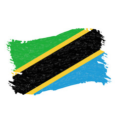 flag of tanzania grunge abstract brush stroke vector image