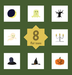 flat icon halloween set of spirit candlestick vector image