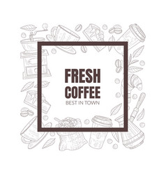 Fresh and tasty coffee shop symbols arranged along vector