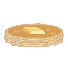 Full color with stack pancake with butter vector