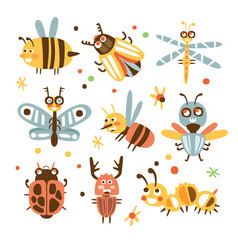 Funky bugs and insects set of small animals with vector