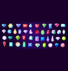 gems diamond and ruby precious stones vector image