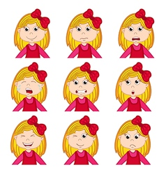 Girl faces showing different emotions vector