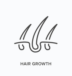 hair growth flat line icon outline vector image