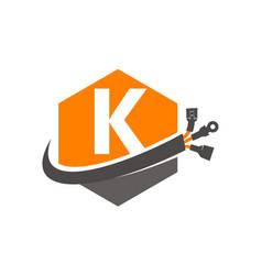 Hexagon global electricity letter k vector