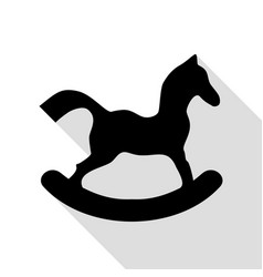 horse toy sign black icon with flat style shadow vector image
