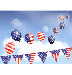 Indepence day balloons and sky vector image