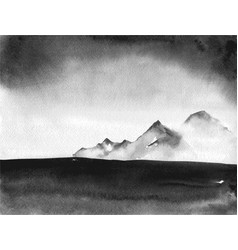 ink wash painting landscape with distant mountains vector image