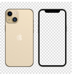 Iphone 13 gold color realistic smartphone mockup vector