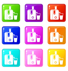 Juicer icons 9 set vector