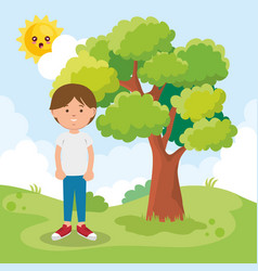 little boy on park character vector image