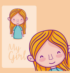my girl cartoon vector image