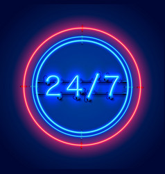 neon signboard 24 7 open time vector image