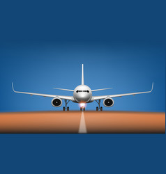 night takeoff plane in airport front view vector image