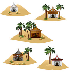 Nomad camp in desert set elements to design vector