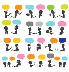 People Conversation Silhouette vector image