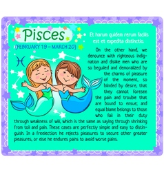 Pisces Zodiac kid vector