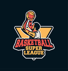 Player doing shot in basketball super league to vector