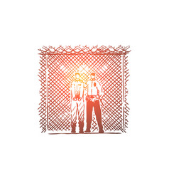 Prisoner and prison guard standing wire fence vector