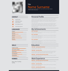 Professional personal resume cv with blue and vector